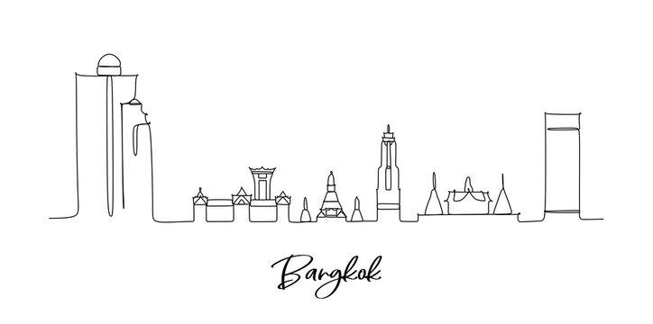 Bangkok Thailand landmark skyline - continuous one line drawing