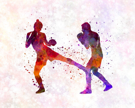 Woman boxer boxing man kickboxing silhouette isolated 02
