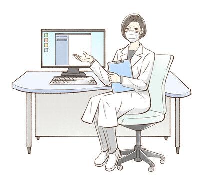 パソコンの前に座って手を差し出すドクター_マスクあり