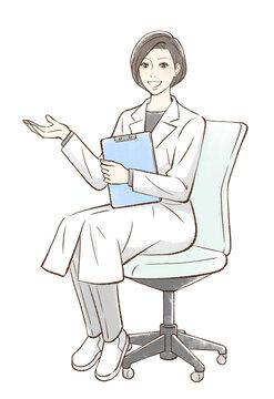 椅子に座って手を差し出すドクター