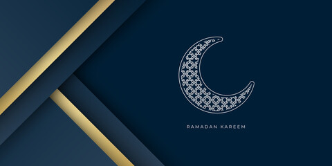 Ramadan Kareem greeting cards set. Ramadan holiday invitations templates collection with hand drawn lettering and gold arabic pattern. Vector illustration.