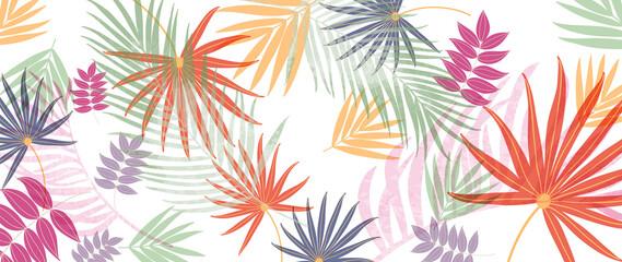Fototapeta Summer tropical background vector. Palm leaves, monstera leaf, Botanical pattern trendy design for wall framed prints, canvas prints, poster, home decor, cover, flower wall arts, wallpaper. obraz