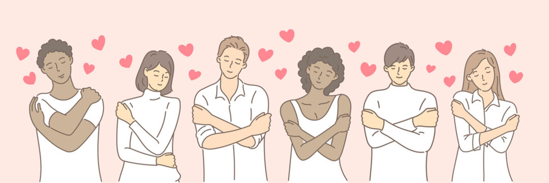Multiracial or multinational couple hugging herself with hearts on pink background. Self love and self care. Love yourself. Love your body concept. Hand draw style. Vector illustration.