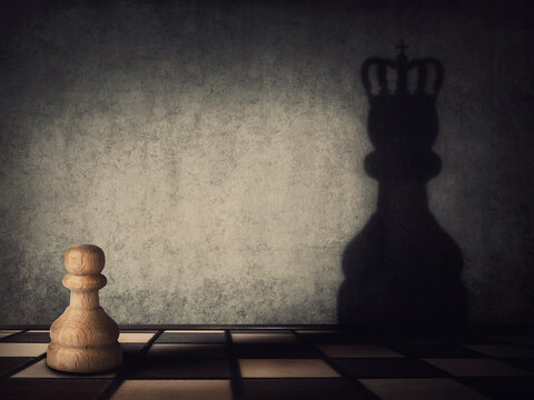 Surreal transformation of the pawn chess piece into a powerful king or queen. Motivation and self confidence metaphor, overcoming obstacles and achieving success. Leadership and authority concept