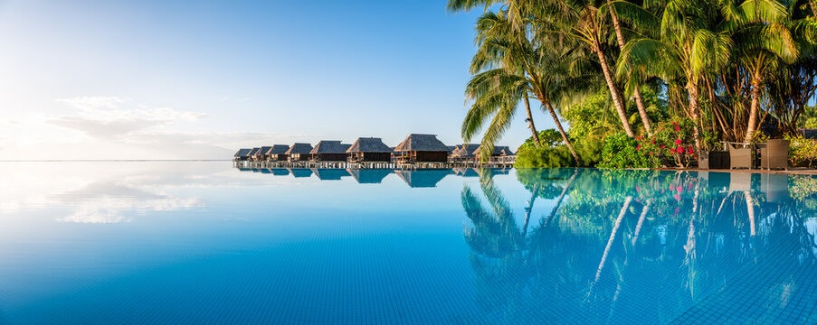 Infinity pool at a luxury beach resort on a tropical island