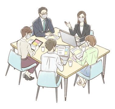 女性を中心にグループでミーティング_マスクあり