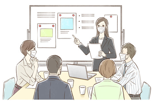 女性中心にホワイトボードの前でグループでミーティング_マスクあり
