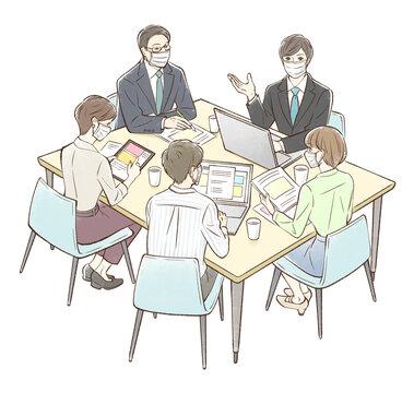 男性を中心にグループでミーティング_マスクあり