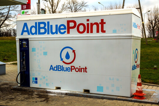 Berlin, Germany - November 15, 2017: The AdBlue tank at the gas station on highway rest stop.