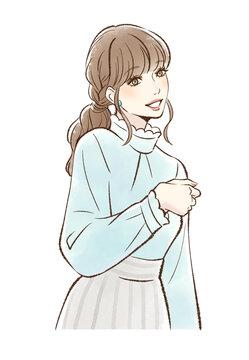メイクをした笑顔の女性_ベージュ系