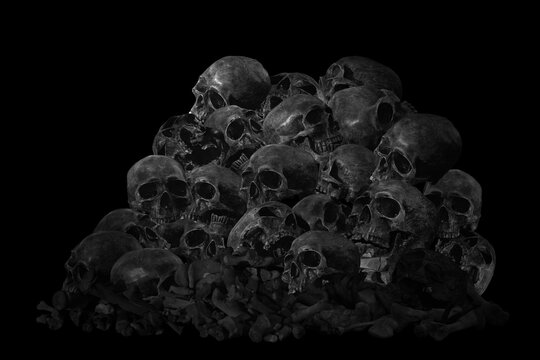 Genocide, Pile Of Skull And Bone, On Black Background