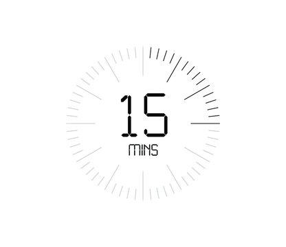 Timer 15 mins icon, 15 minutes digital timer