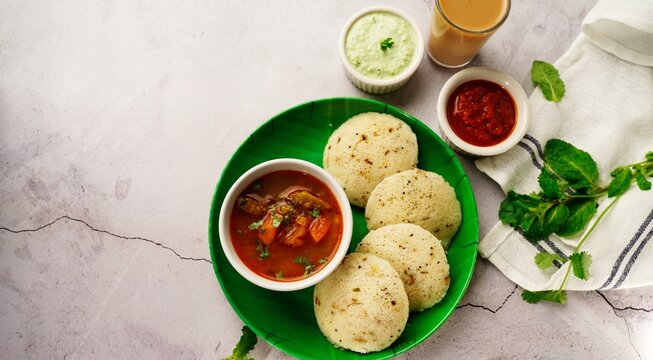 Rava Idli with sambar and chuney - South Indian vegetarian breakkfast