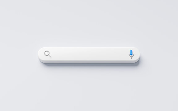Blank minimal search bar box on website interface background with searching or finding button. 3D rendering.