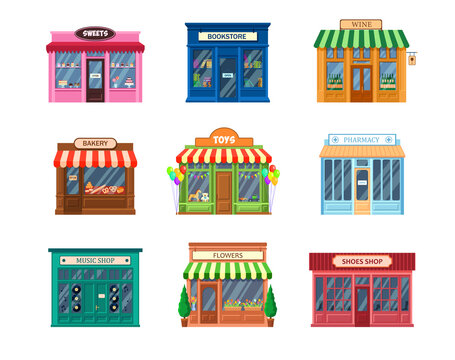 Various storefronts set. Traditional shop buildings and entrance, cafe facade, sweets, bookstore, pharmacy, bakery, flowers, wine, shoes stores. For small business, retail concept