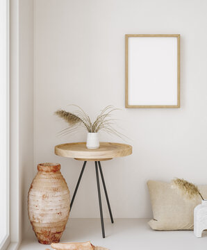 Mock up frame in home interior background, beige room in Scandi-Boho style, 3d render