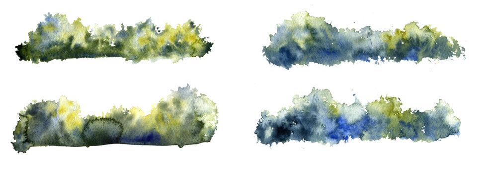 watercolor drawing deciduous bushes