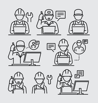 Engineering People. Engineer Working at Computer Talking on his Mobile Phone Vector Line Icons Set