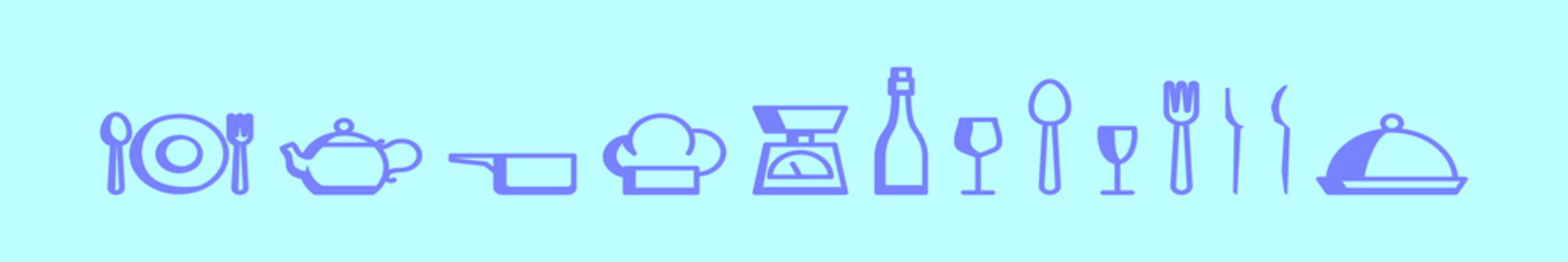 set of dining cartoon icon design template with various models. vector illustration isolated on blue background