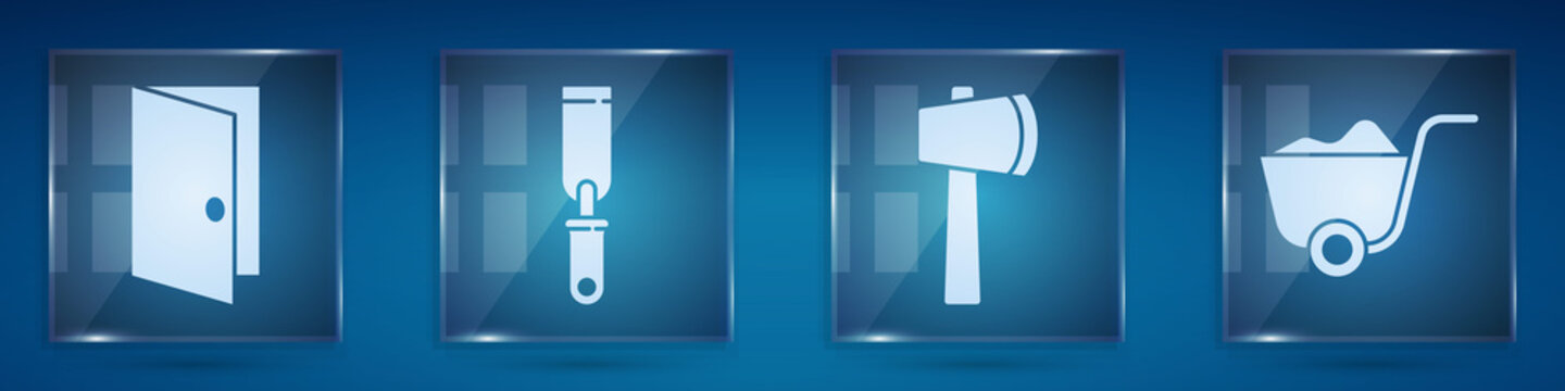 Set Closed door, Rasp metal file, Wooden axe and Shovel. Square glass panels. Vector.