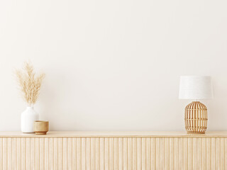Obraz Interior wall mockup in minimalist Japandi style with light biege wooden console, dried pampas grass and wicker basket lamp on empty warm white background. Close up view, 3d rendering, 3d illustration - fototapety do salonu