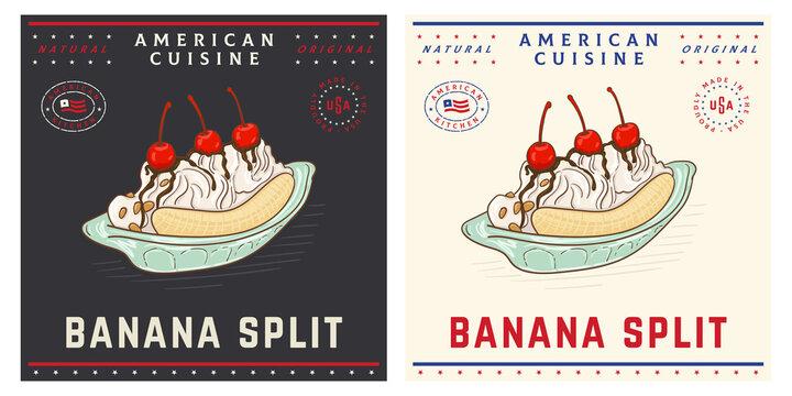 Banana split American ice cream dessert vintage illustration