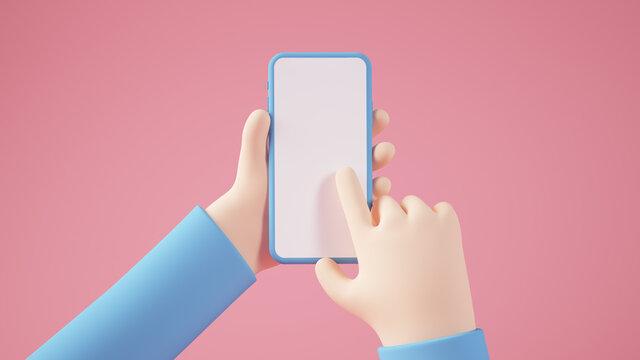 Cartoon hands with smartphone