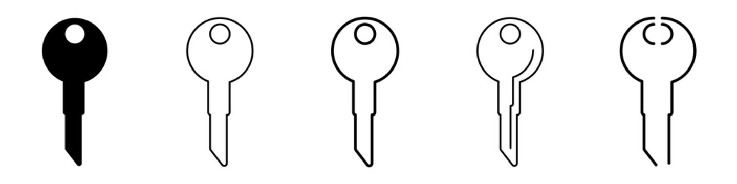 set of key icons of five items