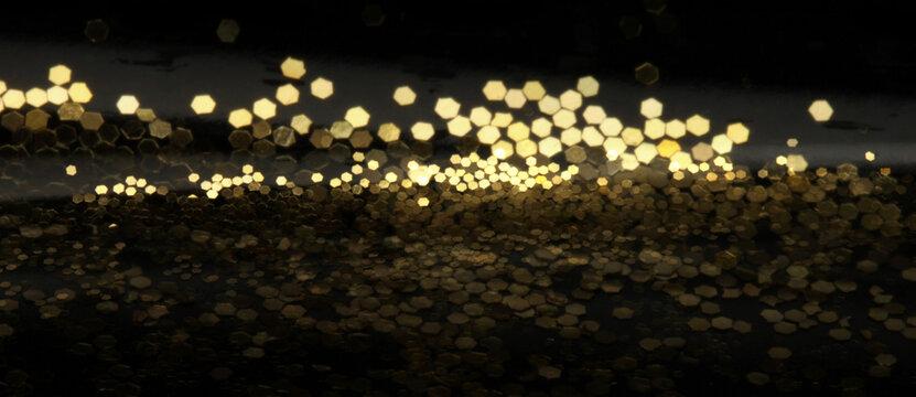 Gold (bronze) glitter shine dots confetti. Abstract city light blink sparkle horizontal backgound.