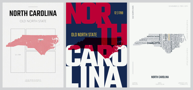12 of 50 sets, US State Posters with name and Information in 3 Design Styles, Detailed vector art print North Carolina map