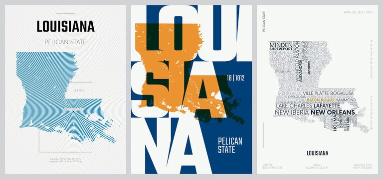 18 of 50 sets, US State Posters with name and Information in 3 Design Styles, Detailed vector art print Louisiana map