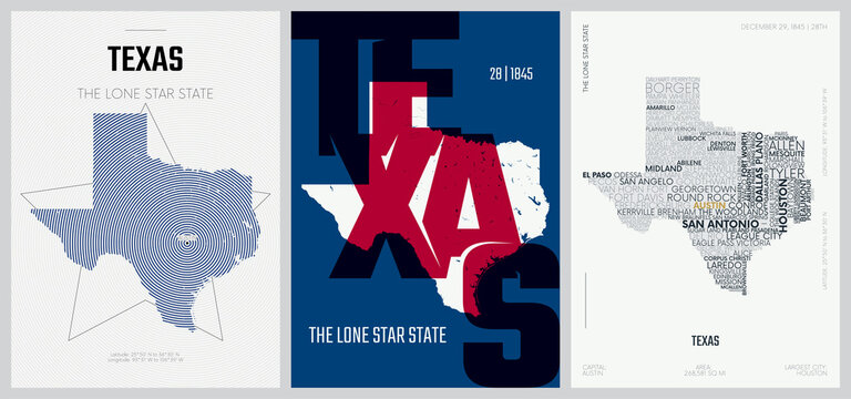 28 of 50 sets, US State Posters with name and Information in 3 Design Styles, Detailed vector art print Texas map