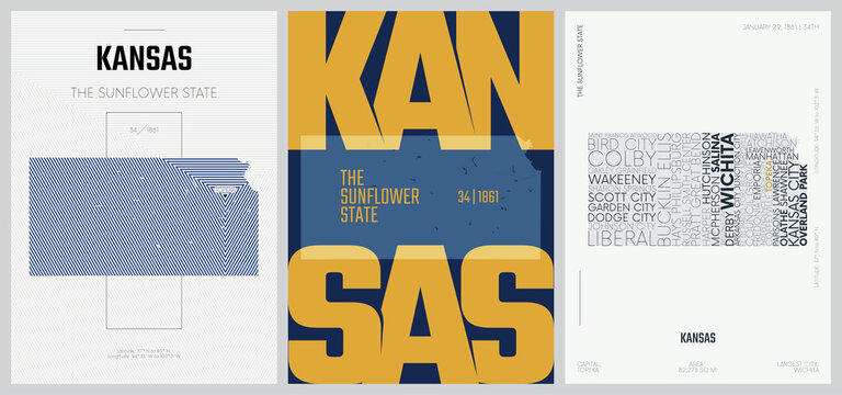 34 of 50 sets, US State Posters with name and Information in 3 Design Styles, Detailed vector art print Kansas map