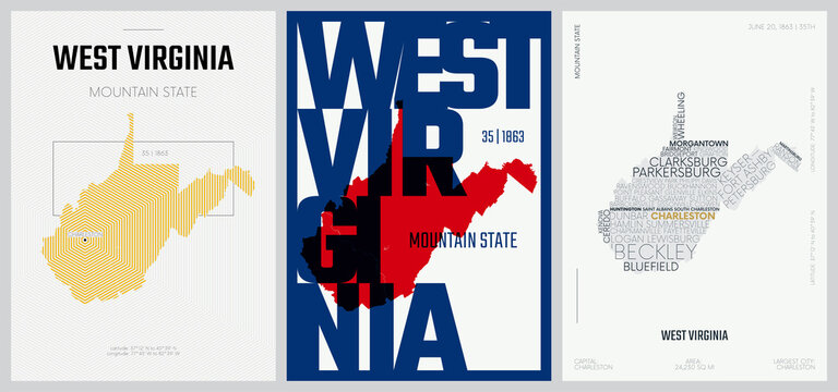 35 of 50 sets, US State Posters with name and Information in 3 Design Styles, Detailed vector art print West Virginia map