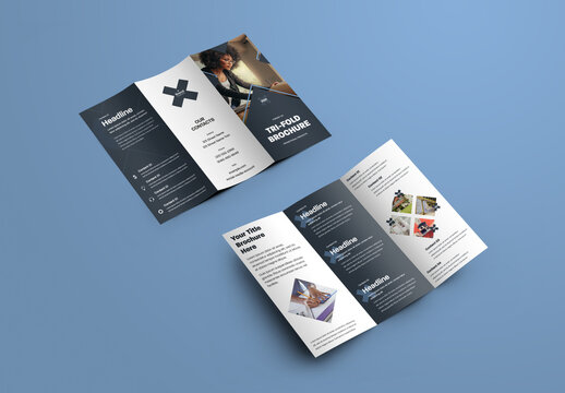Strict Trifold Brochure with Cross Design Elements