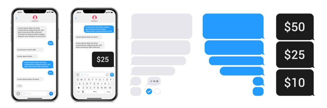 Smartphone chatting sms app template bubbles. SMS chat composer. Place your own text to the message. Editable phone chat mockup bubble. Vector illustration.