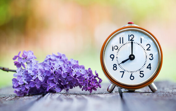 Save time, daylight savings concept, retro clock with purple lilac flower in spring