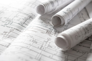 Fototapeta architect design working drawing sketch plans blueprints and making architectural construction model in architect studio,flat lay.. obraz