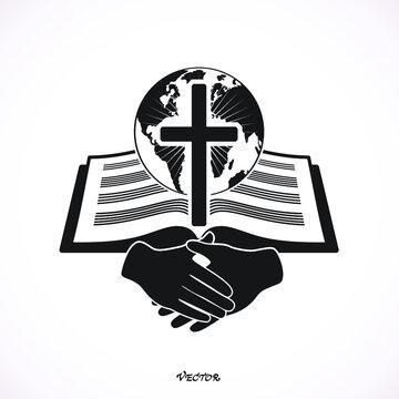 God's word spread around the world, handshake. Icon, isolated on white background, flat style