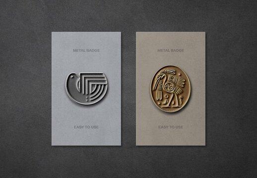 Metal Pin Badges Mockup
