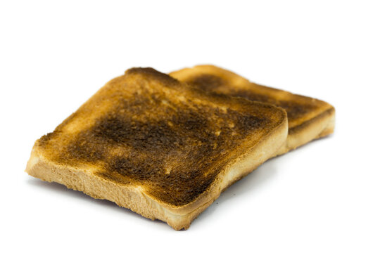 Toast bread burnt isolated on white background