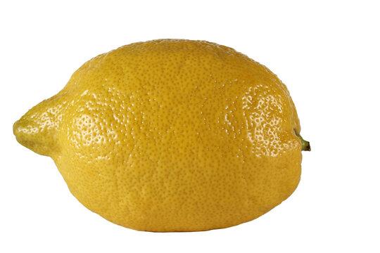 a whole lemon lies on a white background