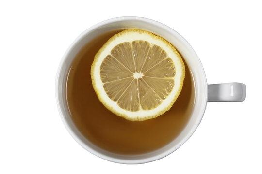 tea with lemon on a white background