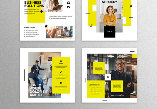 Yellow Social Media Layouts for Business Organization