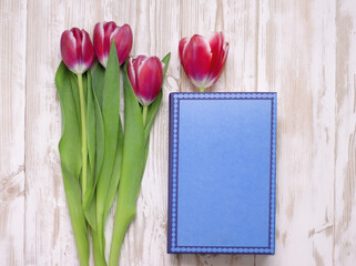 pink flowers tulips and blue book on white wooden table Wall mural