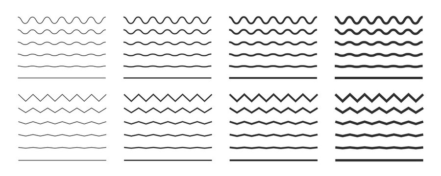 Wave line and wavy zigzag lines. Black underlines wavy curve zig zag line pattern in abstract style. Geometric decoration element. Vector illustration.