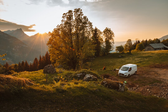Vanlife - live in a beautiful bus in the open nature in switzerland