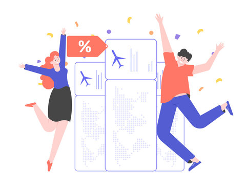 People rejoice at the bargain price of air tickets. Discounts and promotions. Airplane travel concept. The man and woman are jumping joyfully. Vector flat illustration.