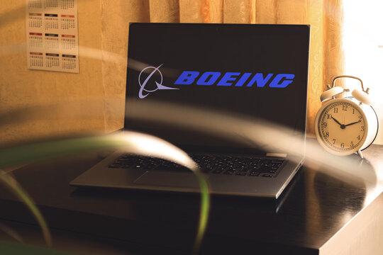 Kharkov, Ukraine - February 23, 2021: Boeing logo on laptop screen