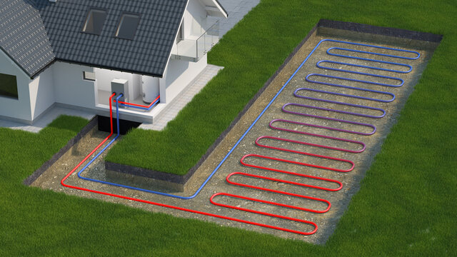 Heat Pump, ground source, 3d illustration